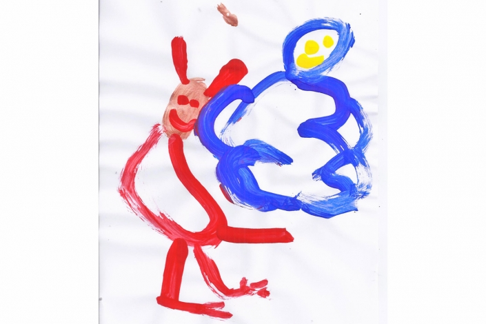 Things That Fly - Childrens Artwork - Isabelle W Red Dragon and Blue Fairy
